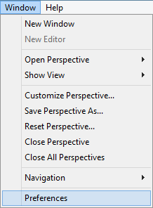 Window -> Preferences